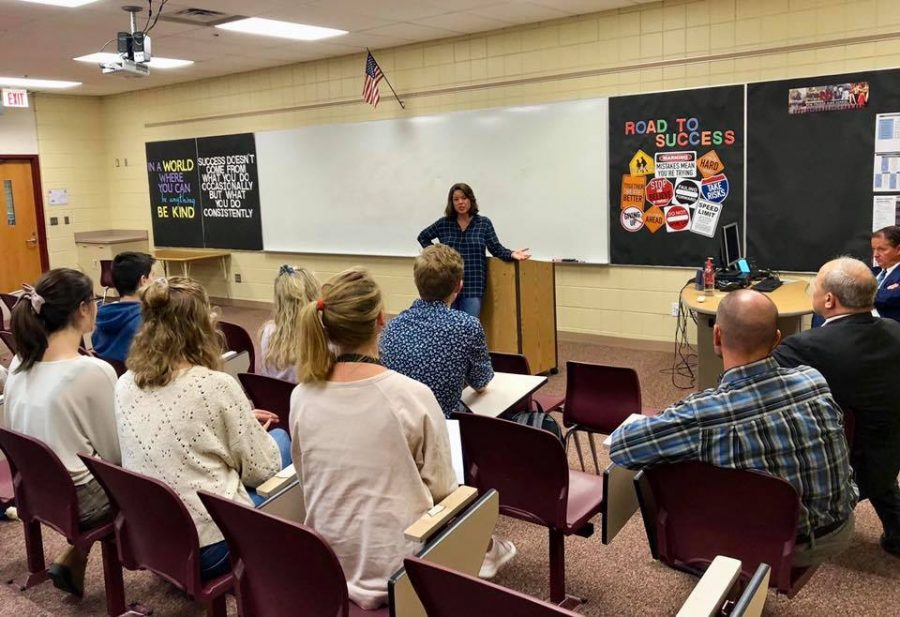 Congresswoman Angie Craig visited staff and students at New Prague High School Tuesday, October 1.
