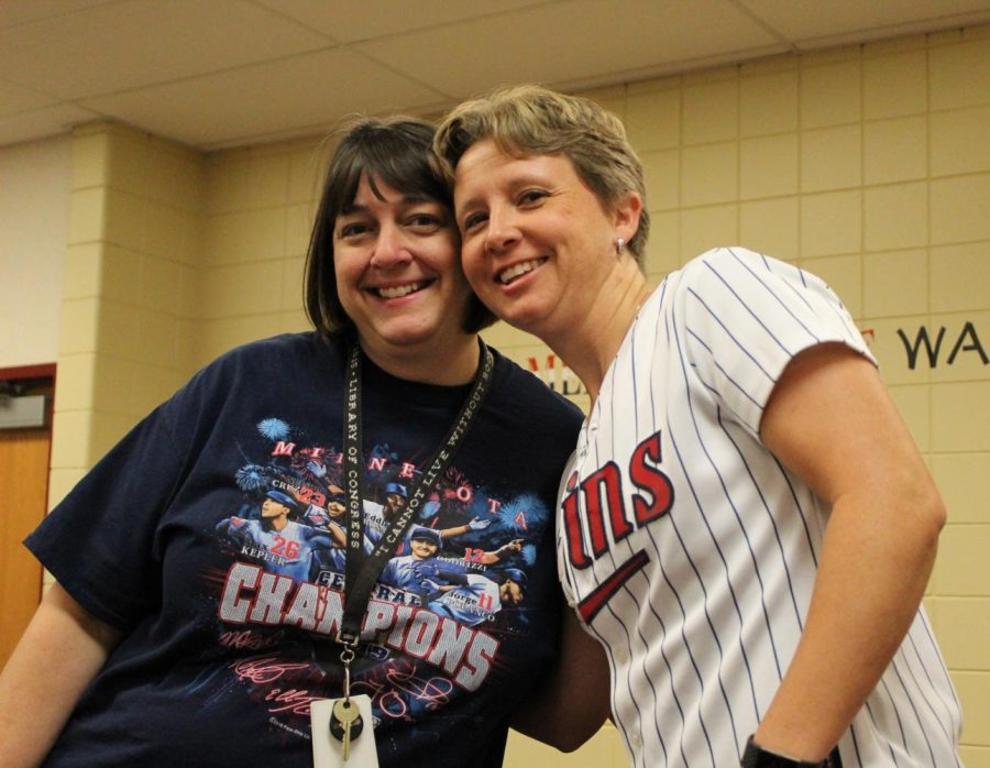 Ms.+Harmon+and+Ms.+Schellin+show+their+support+for+the+2019+AL+Central+Division+Champion+Minnesota+Twins+on+Sports+Day.