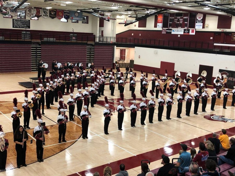 The formation is precise at the NPHS Marching Band indoor concert October 8.