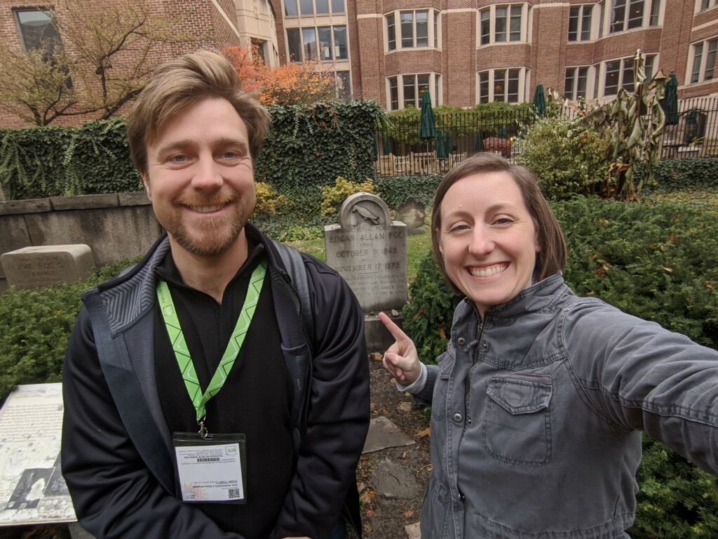 Mr. Stensrud recently attended the National Council of Teachers of English conference in Baltimore, MD where he had the chance to visit the grave of Edgar Allan Poe.  Here he is pictured with Ms. Nelson at Poe's grave.
