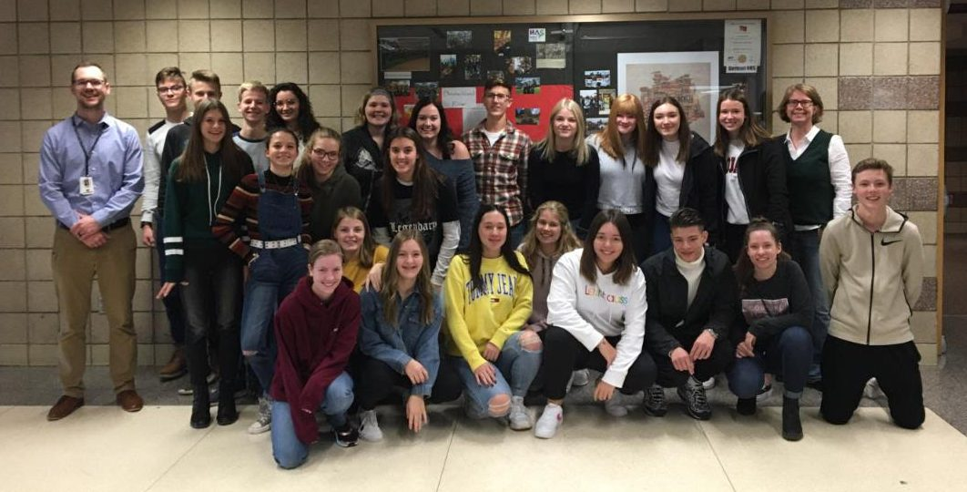 Here the German exchange students pose with their NPHS hosts.