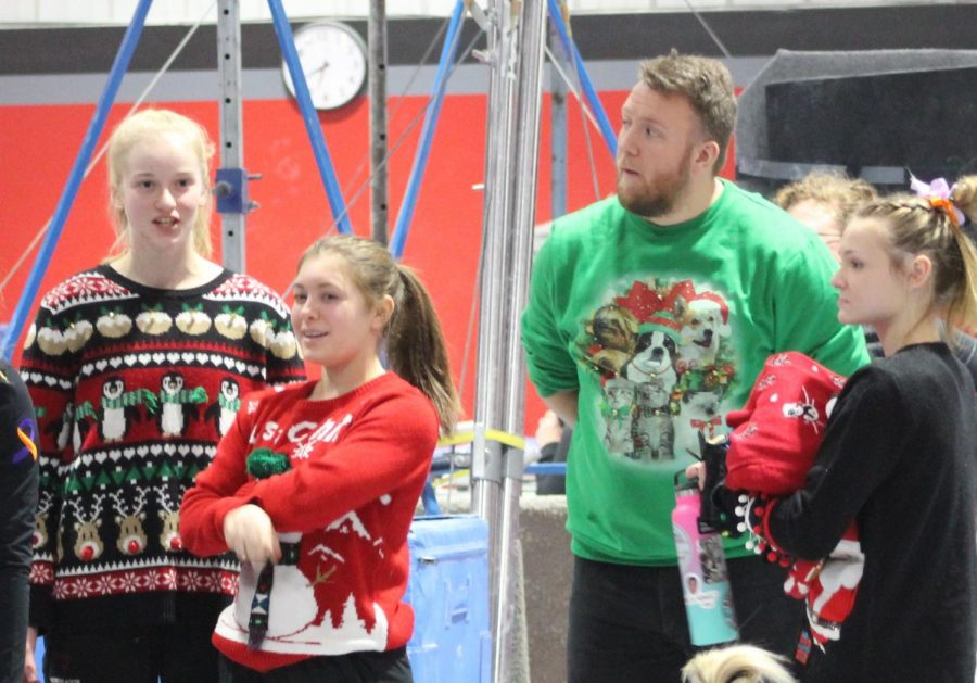 Ugly+sweaters+were+all+the+rage+the+December+12+Trojan+Gymnastics+Meet.