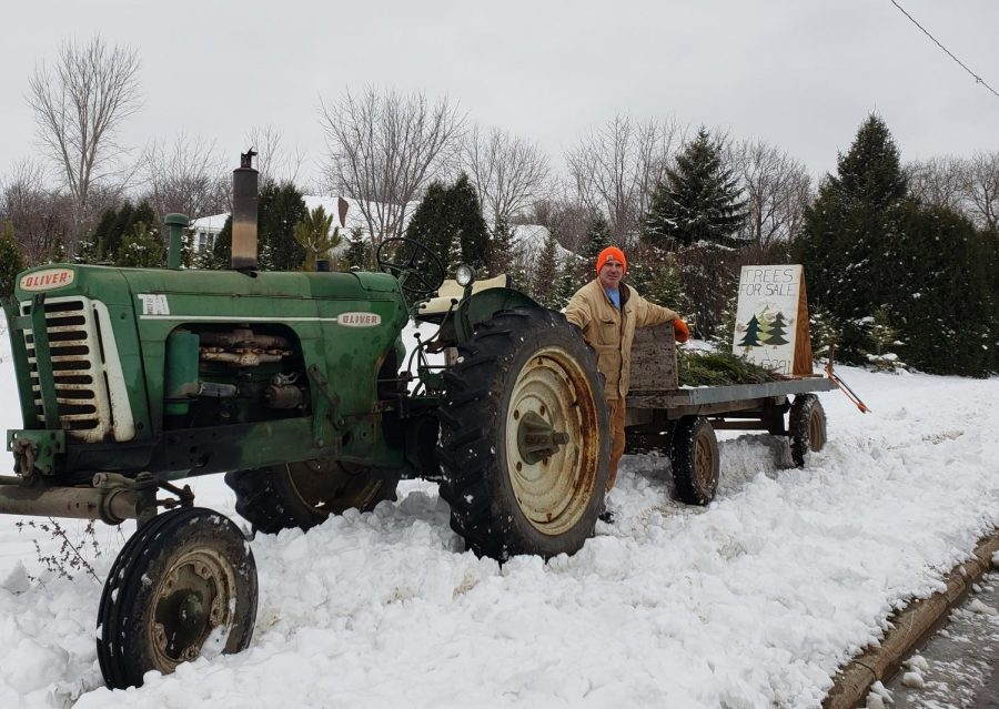 Mr. Tikalsky puts in the time to farm the acreage and trees he sells.