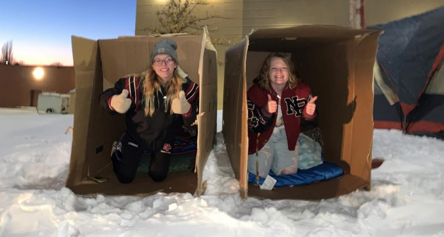 Kianna Howard and Hannah Leverson are ready for their night in a box.
