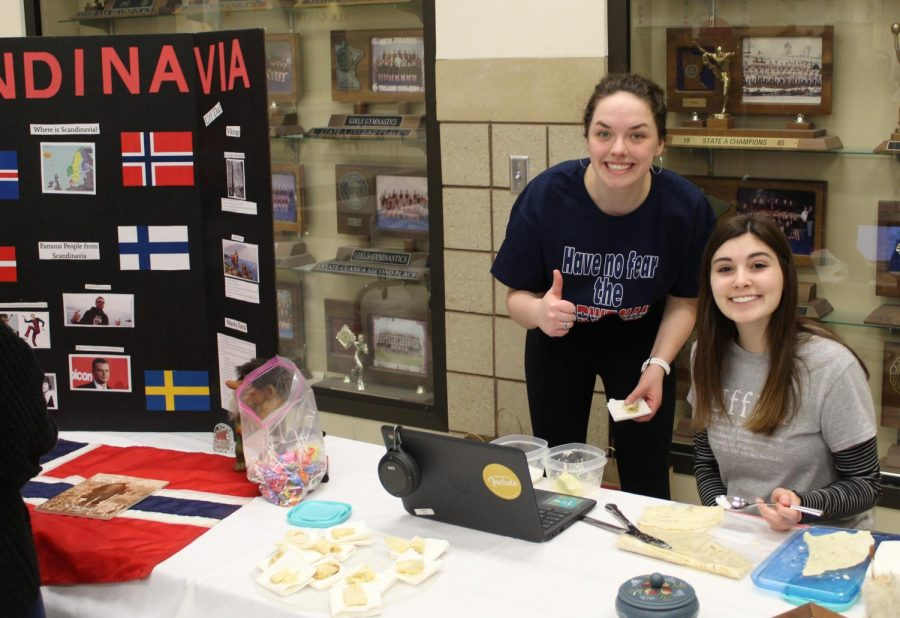 Erica Goulson and Becca Walsh shared their love of lefse at the Scandinavia table.