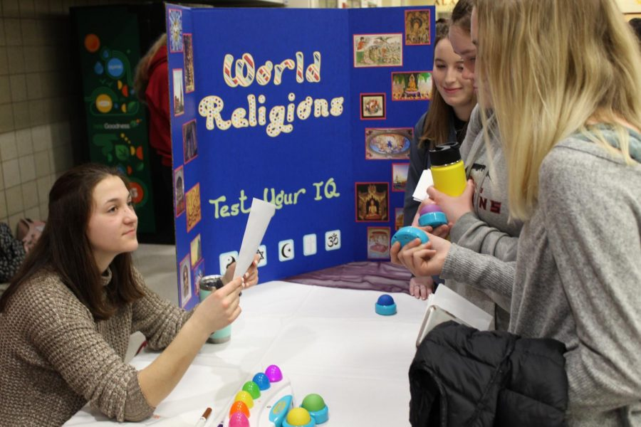 IQs were tested through a buzzer game at the World Religions table.