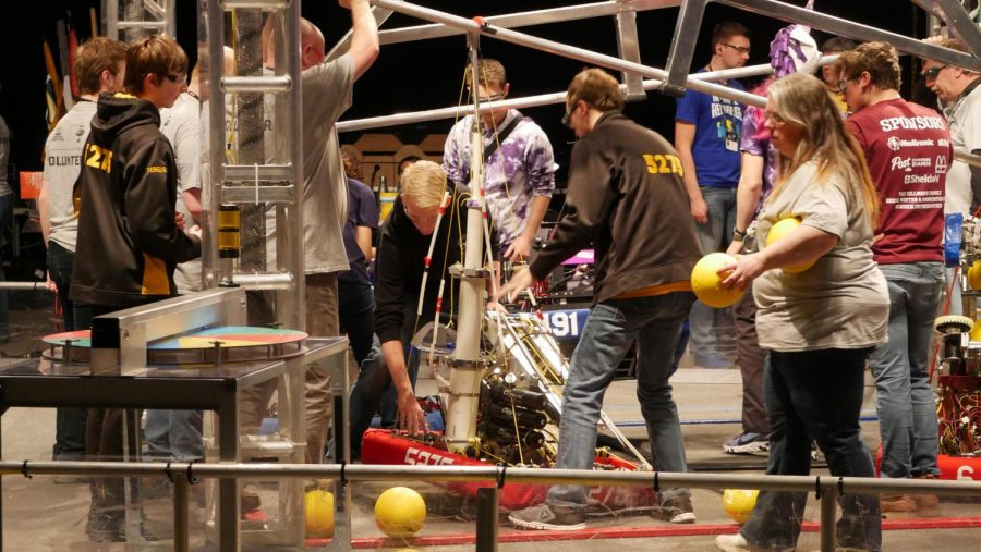 The Timebots set up for the competition.