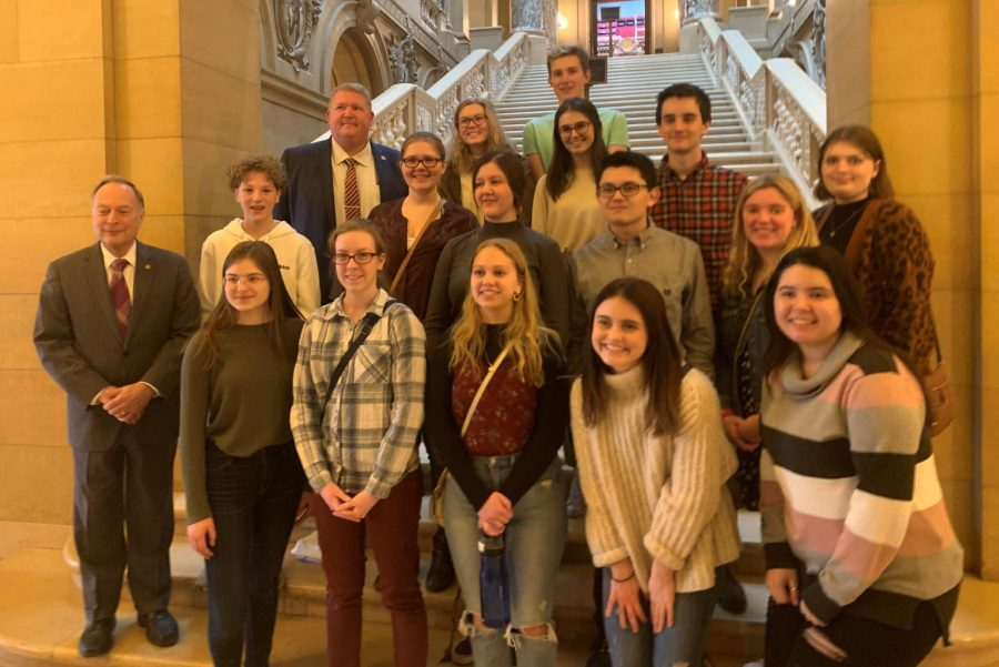 Political science students posed with Representatives Bob Vogel and Rich Draheim.