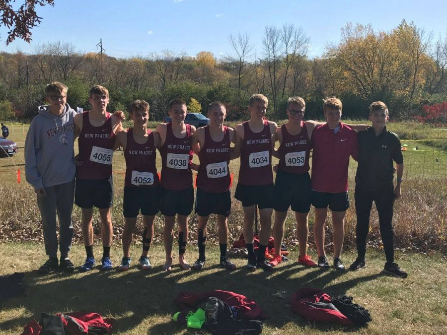 Trojan Boys Cross Country Team Photo at Section 2AA meet at Gale Woods in Minnetrista!