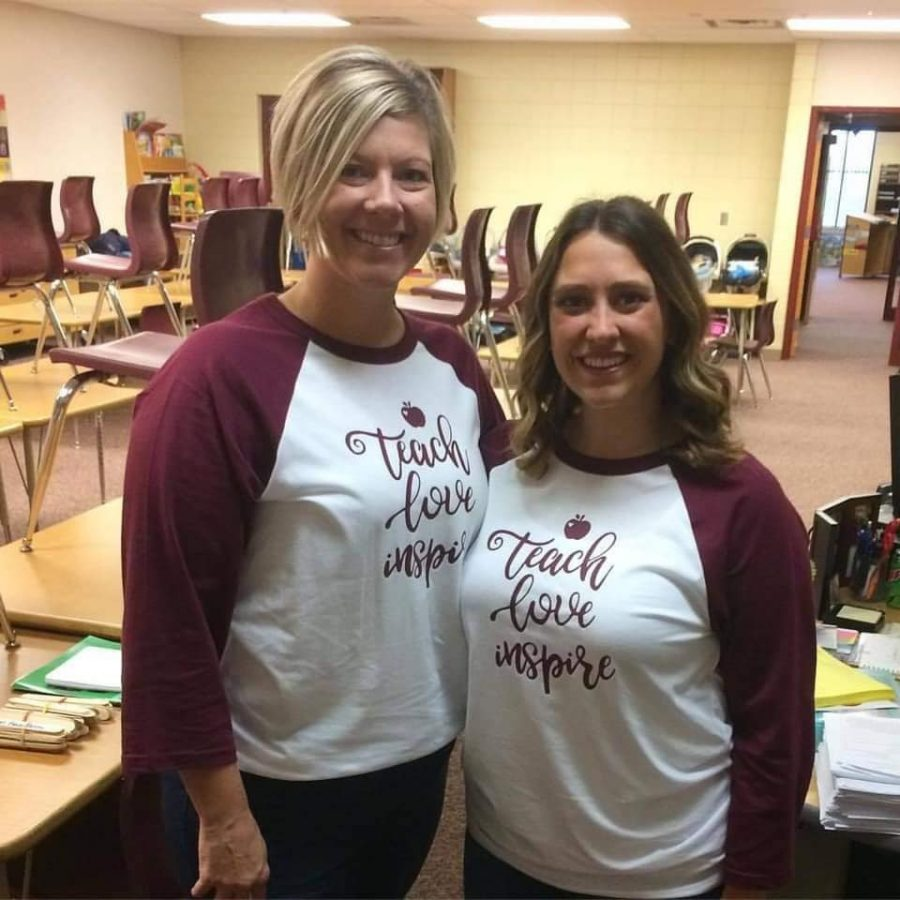 Ms. Balfe is posing here with her teaching partner Ms. Hirsch.