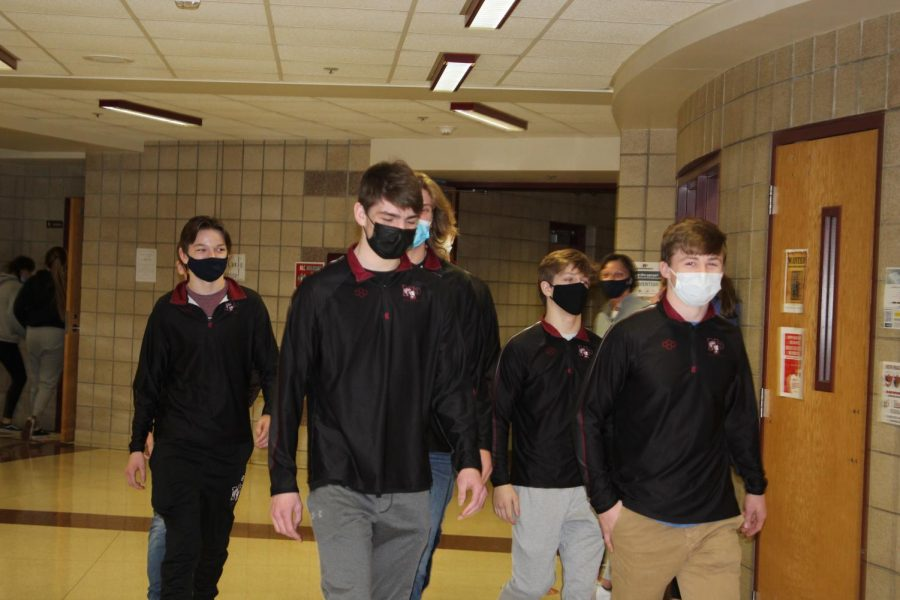 In lieu of a pepfest, the Trojan Wrestlers were greeted throughout the hallways of NPHS, led by the drumline Wednesday, March 23. The wrestlers headed to the state competition Thursday, March 24.