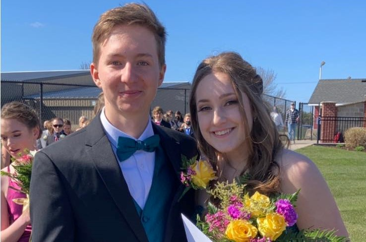 Lukas pictured here with his prom date Liberty Harmon.