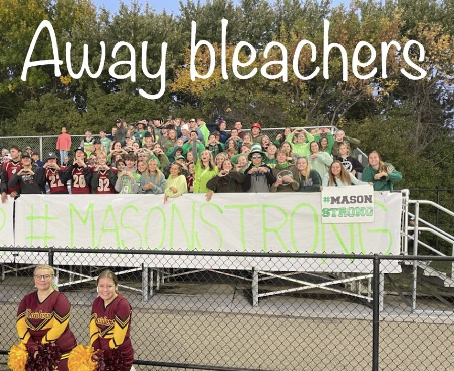 The Northfield student section joined in on the support wearing green and sporting a sign that said, Nobody fights alone. #MasonStrong.