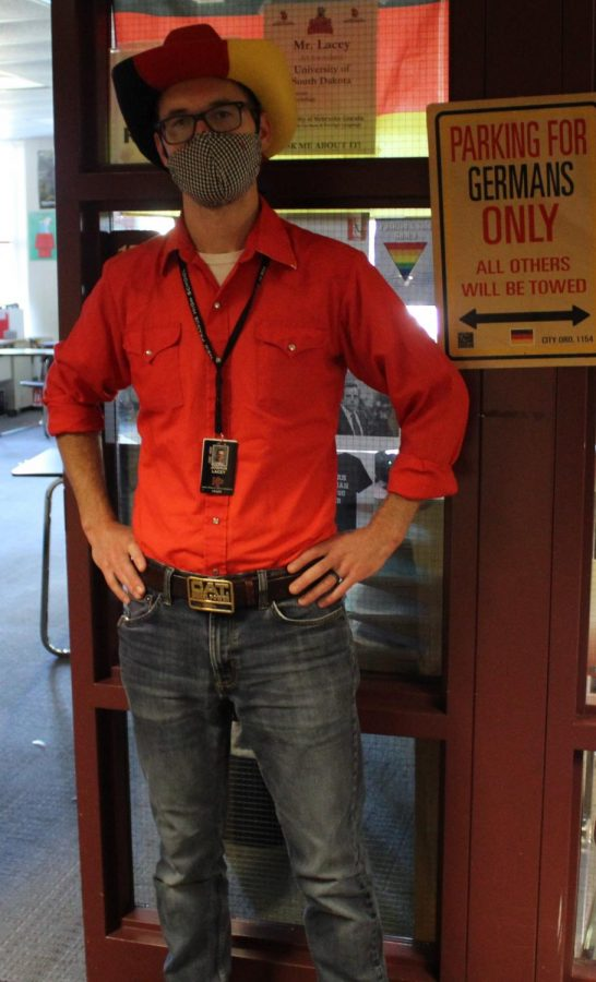 Mr. Lacey traded in his lederhosen for jeans and a big belt buckle.
